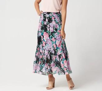 Susan Graver Regular Printed Chiffon Tiered Maxi Skirt