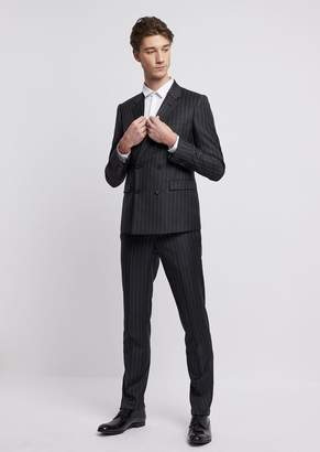 Emporio Armani Suit With Double-Breasted Wool Jacket And Macro Pinstripe Motif