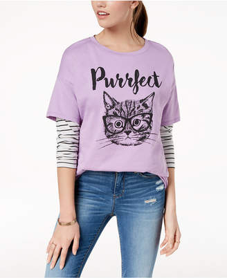 Pretty Rebellious Juniors' Purrfect Graphic T-Shirt