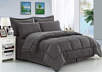 Elegant Comfort Wrinkle Resistant - Silky Soft Dobby Stripe Bed-in-a-Bag 8-Piece Comforter Set -HypoAllergenic - King Grey