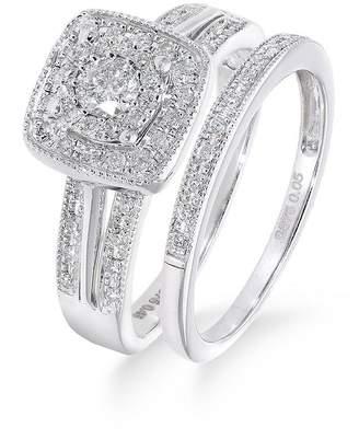 Love DIAMOND 9ct White Gold 50 Point Diamond Square Set Split Shoulder Bridal Set Of Two Rings