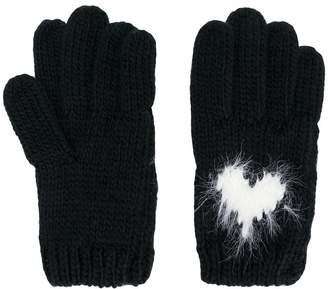 Twin-Set heart intarsia gloves