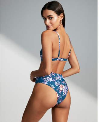 Express high waisted print seamless cheeky bikini bottoms