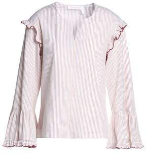 See by Chloe Ruffle-Trimmed Striped Cotton Top