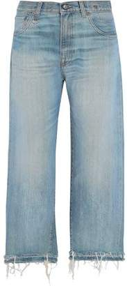 R 13 Mason Distressed Wide-Leg Jeans