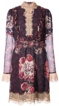 Anna Sui rose print high neck dress