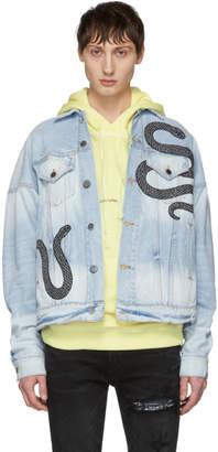 Amiri Indigo Denim Glitter Snake Oversized Trucker Jacket
