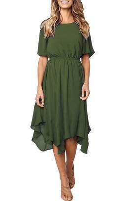 3677bedbc1447 ECOWISH Women's Dresses Casual Chiffon Irregular Hem Short Sleeve Round Neck  Swing Pleated Dress XL