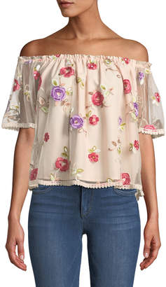 BB Dakota Stassi Off-The-Shoulder Embroidered Mesh Top