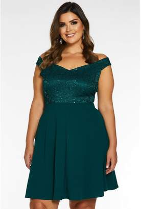 Quiz Curve Bottle Green Bardot Lace Skater Dress