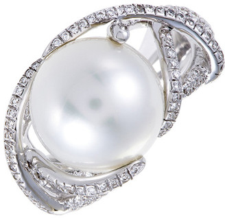 Mikimoto 18K 0.51 Ct. Tw. Diamond & 12Mm Pearl Ring