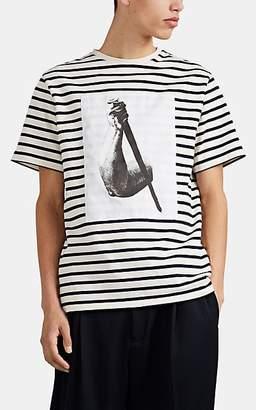 J.W.Anderson Men's Striped Cotton T-Shirt - White