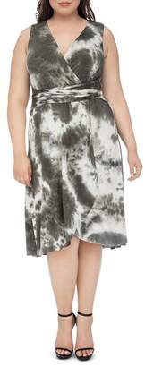 Bobeau B Collection by Curvy Rowan Tie-Dyed Faux-Wrap Dress