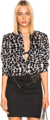 RtA Blythe Shirt in Grey Leopard   FWRD