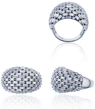FINE JEWELRY Sterling Silver Rhodium Tapered Baguette Cut Domed Cocktail Ring
