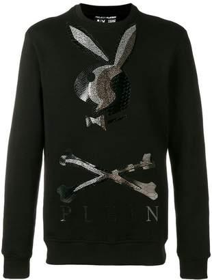 Philipp Plein X Playboy logo crystal sweatshirt