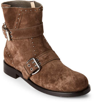 Jimmy Choo Taupe Blyss Studded Suede Ankle Boots