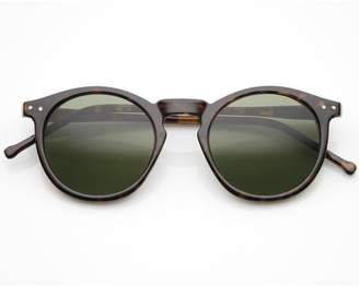 Zerouv Vintage Inspired Round Horned P-3 Sunglasses with Key Hole Nose (Yellow)