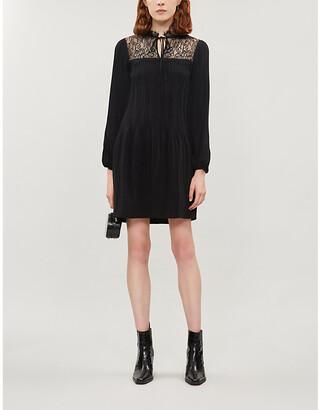 Maje Lace-panel woven dress