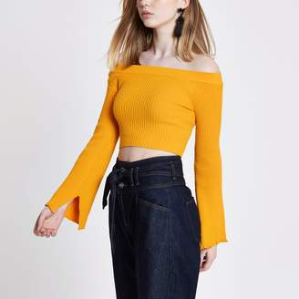 River Island Womens Yellow rib knit bardot bell sleeve crop top