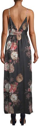 Tularosa Dusk Sleeveless Floral-Print Tie-Waist Maxi Dress