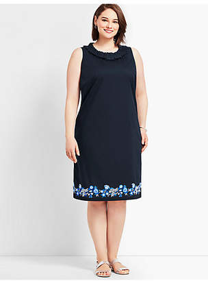 Talbots Embroidered Pleat-Neck Shift Dress