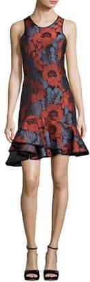 Josie Natori Sleeveless Floral Plissé Jacquard Ruffle-Hem Dress