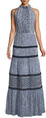 Alexis Bel Printed Crochet Maxi Dress