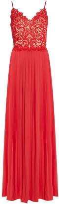 Little Mistress Strappy embroidered pleated maxi dress