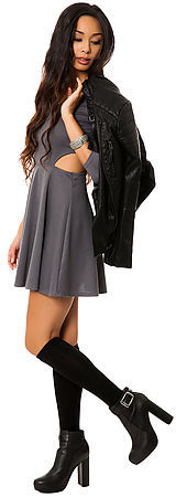 *MKL Collective The Ponte Skater Dress with Cut Outs in Black