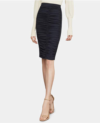 BCBGMAXAZRIA Ruched Twill Pencil Skirt