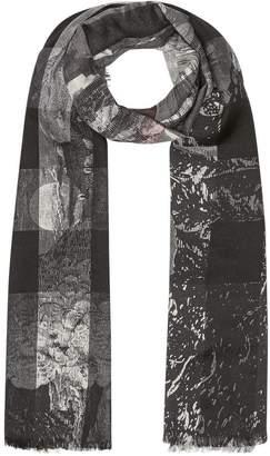 Burberry Dreamscape Print Check Silk Jacquard Square Scarf