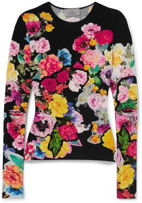 Preen by Thornton Bregazzi Aidan Cutout Floral-print Stretch-jersey Top - Black