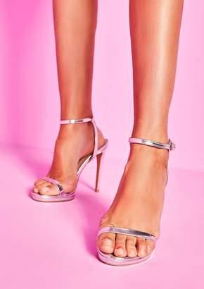 60865c6c70 Missy Empire Missyempire Davina Silver Ankle Strap High Heels