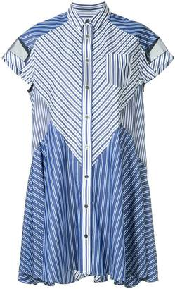 Sacai striped mix shirt dress