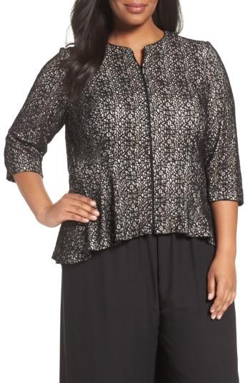 Alex EveningsPlus Size Women's Alex Evenings High/low Lace Zip Front Jacket