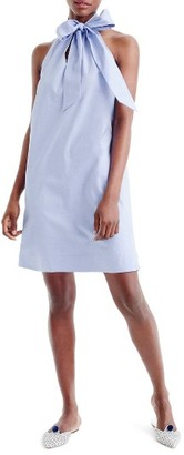Women's J.crew Oxford Cotton Tie Neck Dress $88 thestylecure.com
