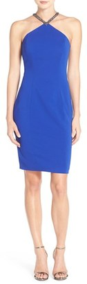 Women's Carmen Marc Valvo Infusion Beaded Neck Crepe Sheath Dress $228 thestylecure.com