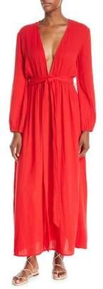 Mara Hoffman Luna Plunging Long-Sleeve Cotton Gauze Maxi Dress