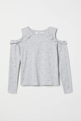 H&M Open-shoulder Top - Gray