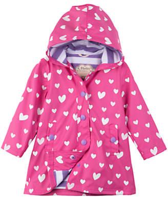 Hatley Girls' Colour Changing Floating Heart Splash Jacket, Pink