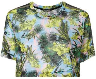 Versace cropped leaf print T-shirt