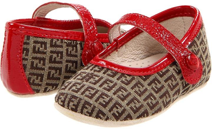 Fendi X40036-X1440 Baby Girl Ballerina Flat (Infant) (Brown/Red) - Footwear