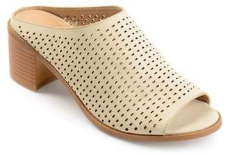 Co Brinley Womens Faux Nubuck Open-toe Perforated Mules