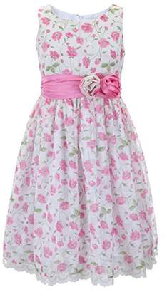 Emma Riley Girls' Flower Dress with Satin Sash and Rosettes 8