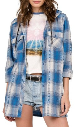 Women's Volcom Salt Fix Plaid Hooded Tunic $55 thestylecure.com