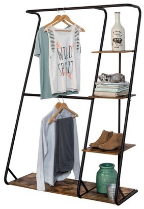 Honey-Can-Do Rustic Z-Frame Wardrobe Rack with 4 Shelves, Black