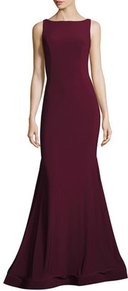 Jovani Backless Stretch Crepe Mermaid Gown, Burgundy $495 thestylecure.com