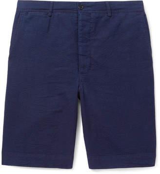 Officine Generale Slim-Fit Cotton-Seersucker Shorts