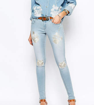 N. Liquor Poker Liquor & Poker Skinny Jeans With Floral Embroidery